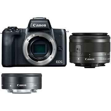 Canon EOS M50 fekete + EF-M 15-45 mm IS STM + EF-M 22 mm - Digitális fényképezőgép