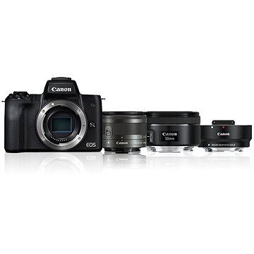 Canon EOS M50 fekete + EF-M 15-45 mm IS STM + EF 50 mm STM + EF-EOS M adapter - Digitális fényképezőgép