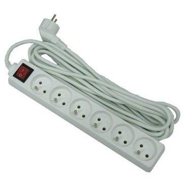 PremiumCord hosszabbító, 230V, 7m, 6 foglalat + kapcsoló, fehér  - Hosszabbító kábel
