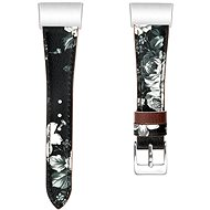 Eternico Fitbit Charge 3 / 4 Genuine Leather, szürke-virágos (Large) - Szíj