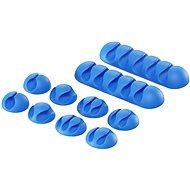 Kábelrendező AlzaPower Cable Clips Mix 10 pcs kék
