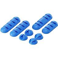 Kábelrendező AlzaPower Cable Clips Mix 8 pcs kék