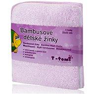 T-tomi bambusz mosdókesztyű 4 db - Rózsaszín - Mosdókendő