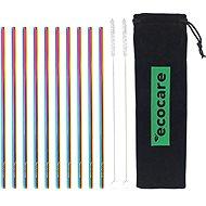 ECOCARE Fém szívószál készlet Rainbow 10 db - Szívószál
