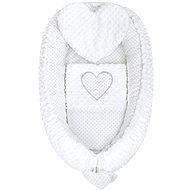 New Baby Szívecske Pompás babafészek párnával és takaróval - fehér