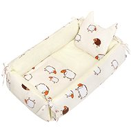 New Baby multifunkciós babafészek párnával és takaróval - bézs báránykák - Babafészek