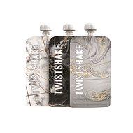 TWISTSHAKE Tölthető tasak 3 × 220 ml - márványszürke - Újratölthető bébiételtartó