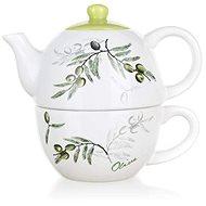 BANKET Kerámia teáskanna csészével OLIVES, OK - Egyszemélyes teáskészlet