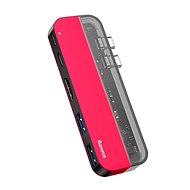 Baseus Transparent Series Dual USB-C Multifunctional HUB Adapter, Red - Port replikátor