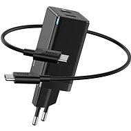 Baseus GaN Dual USB-C Quick Travel Charger 45W + Type-C (USB-C) Cable 60W 1m fekete - Hálózati adapter