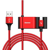 Baseus Special Lightning Data Cable + 2 x USB for Backseat of Car Red - Adatkábel