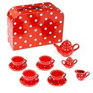 Bigjigs Piros pöttyös teáskészlet - Játék edények