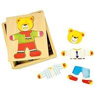 Fából készült öltöztetős puzzle dobozban - Medve Úr - Kirakós játék