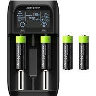 AlzaPower AP250B USB akkumulátortöltő + Újratölthető HR6 (AA) 2500 mAh 4db - Elem töltő