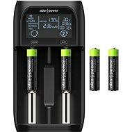 AlzaPower AP250B USB töltő + Újratölthető HR03 (AAA) 1000 mAh 4db - Elem töltő
