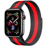 COTEetCI mágneses acélszíj Apple Watch 38/40mm okosórához, fekete/piros