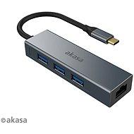 AKASA C típusú USB 4-az-1-elosztó - 3 x USB3.0 A típusú Ethernet / AK-CBCA20-18BK
