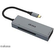 AKASA - 3-in-1 CF, SD és microSD USB C kártyaolvasó / AK-CR-09BK - Kártyaolvasó