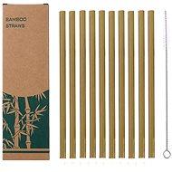 CHARCOAL Bambusz szívószál szett, 10 db - kefével - Szívószál