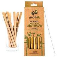 PANDOO Rövid bambusz koktélszívószál 12 db-os szett, tisztítókefével - Szalma