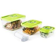 4 részes ételtároló készlet, ÜVEG, ZÖLD tetővel - Vákuumfóliázó