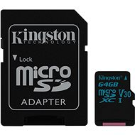 Kingston Canvas Go! MicroSDXC 64GB UHS-I U3 + SD adapter - memóriakártya