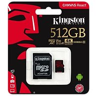 Kingston Canvas React MicroSDXC 512GB A1 UHS-I V30 + SD adapter - Memóriakártya