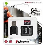 Kingston Canvas React Plus microSDXC 64GB + SD adapter és kártyaolvasó - Memóriakártya