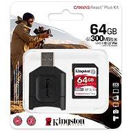 Kingston Canvas React Plus SDXC 64 GB + SD adapter és kártyaolvasó - Memóriakártya