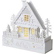 EMOS LED karácsonyi ház, 28 cm, 2 × AAA, meleg fehér, időzítő