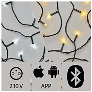 Alkalmazással vezérelhető LED karácsonyi fényfüzér, 20m, kültéri, hideg/meleg fehér - Karácsonyi fények