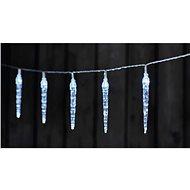 LED karácsonyi fényfüzér - 10x jégcsap, 2x AA, hideg fehér, időzítő - Karácsonyi fények