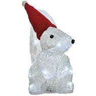 LED karácsonyi mókus, 22cm, 3x AA, hideg fehér, időzítő - Karácsonyi fény