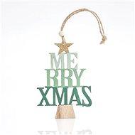 Fából készült fa felirattal, 23x0,5x8 cm - Karácsonyi díszítés