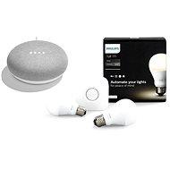 Philips Hue White 8.5W E27 starter kit + Google Home Mini Chalk - LED izzó