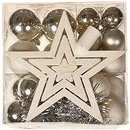 EverGreen Gömbök, 28 db + lánc + csúcs, fehér-ezüst - Karácsonyi díszítés