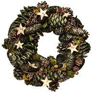 EverGreen Koszorú - tobozok és csillagok, átmérő 28 cm, natural - Karácsonyi díszítés