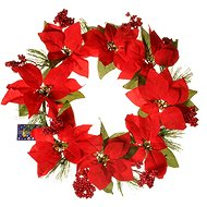 EverGreen Mikulásvirág koszorú, 8 virág, átmérő 40 cm, piros - Karácsonyi díszítés