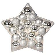 EverGreen® Gömb x 20 db, 3 féle, átmérője 6 cm, ezüst színű - Karácsonyi díszítés