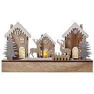 EMOS LED karácsonyi házak fából, 17 cm, 2x AA, beltéri, meleg fehér, időzítővel - Karácsonyi világítás