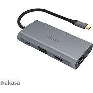 AKASA USB Type C 9 in 1 Dock (PD Type C, HDMI, VGA, 3× USB3.0 Type A, RJ45, SD és Micro SD Card Reader - Dokkoló állomás