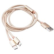 AKASA A típusú USB-ről C- és micro B típusúra - töltő és szinkronizáló kábel / AK-CBUB42-12GL - Adatkábel