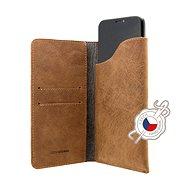 FIXED Pocket Book tok Apple iPhone X/XS készülékhez, barna - Mobiltelefon tok