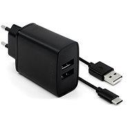 Hálózati adapter FIXED Smart Rapid Charge 15W 2xUSB kimenettel és 1m fekete USB/USB-C kábellel - Nabíječka do sítě