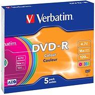 Verbatim DVD-R 4,7 GB 16x sebességes, színes felület, 5 db vékony tok