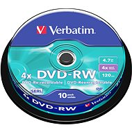 Verbatim DVD-RW 4x, 10 db egy cakeboxban