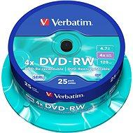 Verbatim DVD-RW 4x, 25 db cakebox - Média
