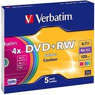 Verbatim DVD + RW 4x, SZÍNEK 5 db egy dobozban SLIM - Média