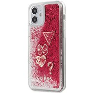 Guess Liquid Glitter Charms - Apple iPhone 12 Mini, Raspberry - Mobiltelefon hátlap