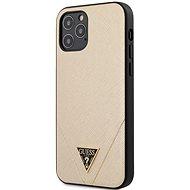 Guess Saffiano V Stitch - Apple iPhone 12/12 Pro, Gold - Mobiltelefon hátlap